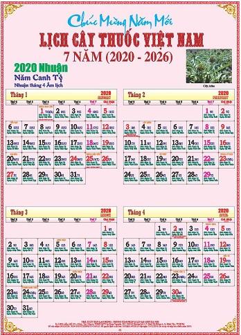 Bộ Lịch Tranh Cây Thuốc 7 Năm từ 2020-2026